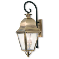 Amwell 3 Light 31 inch Antique Brass Outdoor Wall Lantern