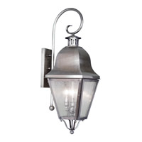 Livex Lighting Amwell 3 Light Outdoor Wall Lantern in Vintage Pewter 2555-29