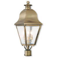 Amwell 3 Light 27 inch Antique Brass Post-Top Lantern