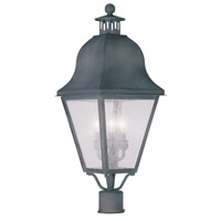 Livex Lighting Amwell 3 Light Outdoor Post Head in Charcoal 2556-61