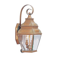 Livex Lighting Exeter 2 Light Outdoor Wall Lantern in Vintage Brass 2591-93 photo thumbnail