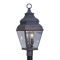 Livex 2592-07 Exeter 2 Light 22 inch Bronze Outdoor Post Head
