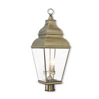 Livex 2594-01 Exeter 3 Light 28 inch Antique Brass Post-Top Lantern