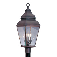 Livex Lighting Exeter 3 Light Outdoor Post Head in Bronze 2594-07
