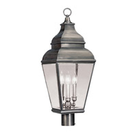 Livex Exeter 3 Light Outdoor Post Mount in Vintage Pewter 2594-29