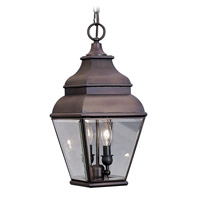 Livex Lighting Exeter 2 Light Outdoor Hanging Lantern in Bronze 2595-07