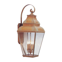 Livex Lighting Exeter 4 Light Outdoor Wall Lantern in Vintage Brass 2596-93
