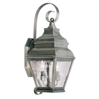 Livex 2602-29 Exeter 2 Light 22 inch Vintage Pewter Outdoor Wall Lantern