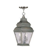 Exeter 2 Light 8 inch Vintage Pewter Outdoor Hanging Lantern