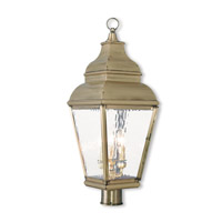 Livex 2606-01 Exeter 3 Light 28 inch Antique Brass Post-Top Lantern