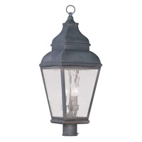 Livex Lighting Exeter 3 Light Outdoor Post Head in Charcoal 2606-61