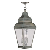Livex 2610-29 Exeter 3 Light 10 inch Vintage Pewter Outdoor Hanging Lantern