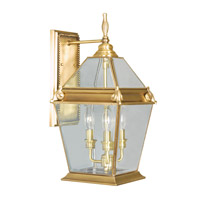 Livex Lighting Fleur de Lis 3 Light Outdoor Wall Lantern in Flemish Brass 2615-22