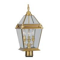Livex Lighting Fleur de Lis 3 Light Outdoor Post Head in Flemish Brass 2616-22