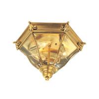 Livex Fleur de Lis 3 Light Outdoor Ceiling Mount in Flemish Brass 2628-22