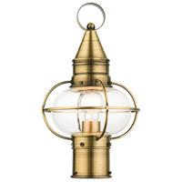 Livex 26902-01 Newburyport 1 Light 15 inch Antique Brass Outdoor Post Top Lantern