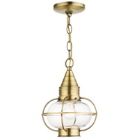Livex 26910-01 Newburyport 1 Light 9 inch Antique Brass Outdoor Pendant Lantern