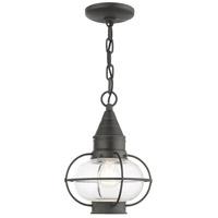 Livex 26910-61 Newburyport 1 Light 9 inch Charcoal Outdoor Pendant Lantern