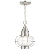 Livex 26910-91 Newburyport 1 Light 9 inch Brushed Nickel Outdoor Pendant Lantern
