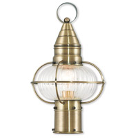 Livex 27002-01 Newburyport 1 Light 15 inch Antique Brass Post Lantern
