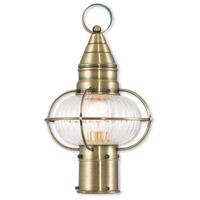 Livex 27002-01 Newburyport 1 Light 15 inch Antique Brass Post Lantern