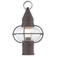 Livex 27002-07 Newburyport 1 Light 15 inch Bronze Post Lantern