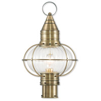 Livex 27005-01 Newburyport 1 Light 20 inch Antique Brass Post Lantern