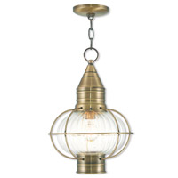 Livex 27006-01 Newburyport 1 Light 12 inch Antique Brass Outdoor Chain Lantern
