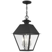 Livex 27220-04 Mansfield 3 Light 12 inch Black Outdoor Pendant Lantern