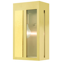 Livex 27412-12 Lafayette 1 Light 11 inch Satin Brass Outdoor Wall Lantern