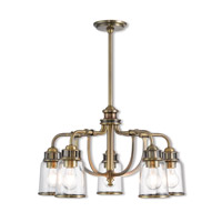 Lawrenceville 5 Light 24 inch Antique Brass Dinette Chandelier Ceiling Light