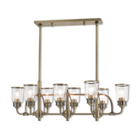 Livex 40028-01 Lawrenceville 8 Light 40 inch Antique Brass Linear Chandelier Ceiling Light