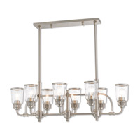 Lawrenceville 8 Light 40 inch Brushed Nickel Linear Chandelier Ceiling Light