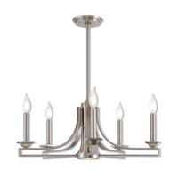 Livex 40055-91 Trumbull 6 Light 24 inch Brushed Nickel Chandelier Ceiling Light