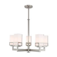 Livex Lighting 40195-91 Harding 5 Light 25 inch Brushed Nickel Chandelier Ceiling Light