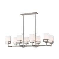 Livex 40198-91 Harding 8 Light 40 inch Brushed Nickel Linear Chandelier Ceiling Light