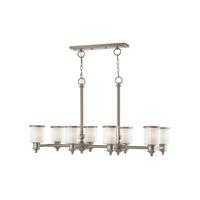 Livex 40208-91 Middlebush 8 Light 42 inch Brushed Nickel Linear Chandelier Ceiling Light