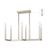 Livex 40256-35 Alpine 6 Light 27 inch Polished Nickel Linear Chandelier Ceiling Light