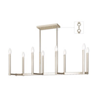Livex 40258-35 Alpine 8 Light 37 inch Polished Nickel Linear Chandelier Ceiling Light