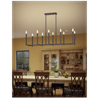 Alpine 10 Light 43 inch Bronze Linear Chandelier Ceiling Light