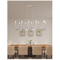 Alpine 10 Light 43 inch Brushed Nickel Linear Chandelier Ceiling Light
