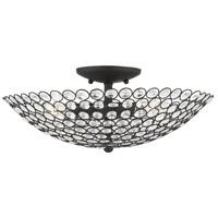 Livex 40446-04 Cassandra 3 Light 16 inch Black Semi Flush Ceiling Light