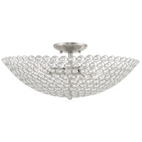 Livex 40447-91 Cassandra 4 Light 20 inch Brushed Nickel Flush Mount Ceiling Light