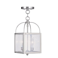 Livex 4045-91 Milford 2 Light 8 inch Brushed Nickel Pendant/Ceiling Mount Ceiling Light