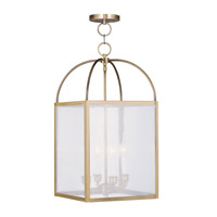 Livex Lighting Milford 4 Light Pendant in Antique Brass 4046-01 photo thumbnail