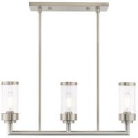 Livex 40473-91 Hillcrest 3 Light 28 inch Brushed Nickel Linear Chandelier Ceiling Light