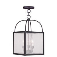Milford 3 Light 10 inch Bronze Convertible Chain Hang/Ceiling Mount Ceiling Light in Clear Seeded