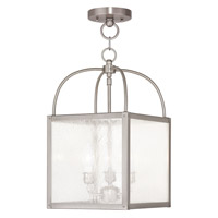 Milford 3 Light 10 inch Brushed Nickel Convertible Chain Hang Ceiling Light in Clear