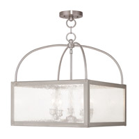 Milford 5 Light 18 inch Brushed Nickel Lantern Ceiling Light in Clear