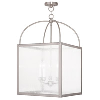 Livex 4058-91 Milford 5 Light 18 inch Brushed Nickel Lantern Ceiling Light in Clear